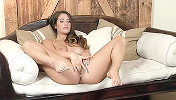 Eva Lovia - Busty brunette with pearly nails drilling up her slit