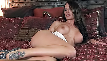 Destiny Dixon - Dark haired babe with fake tits drilling up her slit