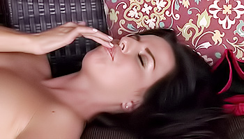 Kobe Lee - Dark haired babe in red undies masturbating hard