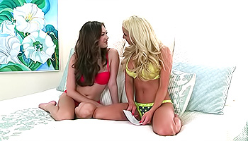 Cassie Laine - A fake busty blonde rubs her brunette friend