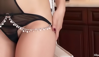 Amber Rouge - Delicious hottie is massaging her wet and moist pussy