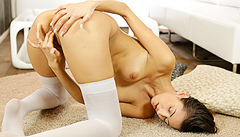 Kitty Jane - After sliding her hands over her body brunette masturbates