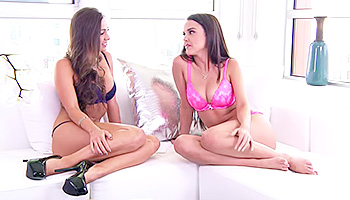 Abigail Mac - Hot brunette in black and her cute lover in pink teasing
