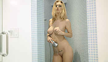 Natalia Star - Blonde with massive tits masturbating in the shower