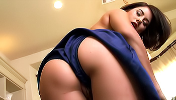 Shyla Jennings - Elegant babe in a blue dress teasing her cunt