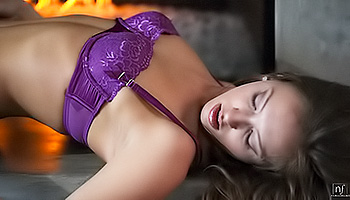 Maddy Oreilly - Dark haired babe wearing purple seductively gets naked