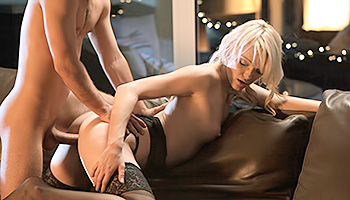 Zoey Paige - Sexy blonde gets her holes filled on a leather couch