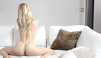 Bella Bends - Slim blonde with tiny tits spreading out on a couch