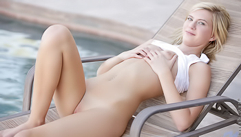 Chloe Brooke - Naked walk by the pool on a hot summer day