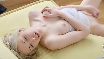 Kamilla Nubiles - Blonde with tiny pointy nipples plays with herself