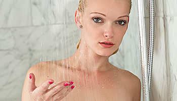 Zoey Paige - Pale platinum blonde having fun under the shower