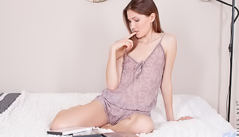 Mia Reese - Skinny girl with a flat chest is licking a dildo