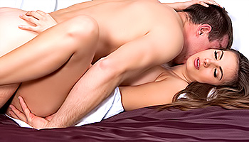 Connie Carter - A silky haired brunette on her back getting rammed
