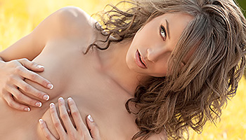 Malena Morgan - Brunette with dreamy eyes stripping and posing in a garden