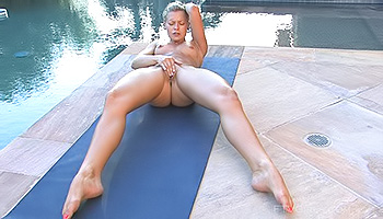Lena FTV - Cute blonde masturbates and cools off in the pool