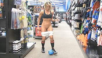 Anne FTV - Sporty looking blonde stripping and teasing