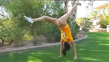 Tasha FTV - Sporty teen with bright eyes stretching and getting off