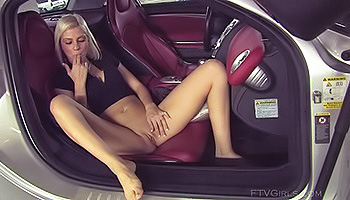 Christine FTV - Blonde plays with a huge vibrator and then plays in a car