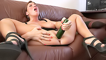 Katherine FTV - Mature brunette knows how to get off with a cucumber