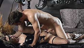 Stacie Silverstone - Masked mistress in fishnet gets filled up with cock