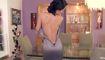 Lilly Evans - Seductive Latina is dancing one a glass table