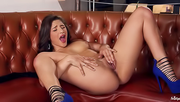 Abella Danger - Woman in blue high heels is showing her body