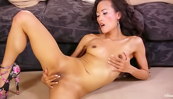 Ayla Sky - Asian woman slips out of her sexy lingerie