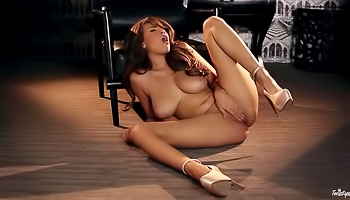 Busty brunette spreads her legs on the floor