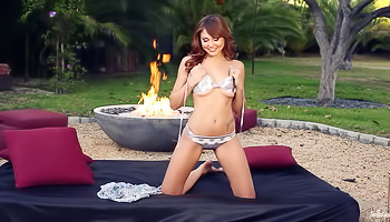 Ariana Marie - Redhead is losing her clothes in the yard