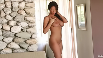 Emily Addison - Top heavy tall brunette is jacking off for us