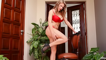 Viola - Red lingerie comes off and unleashes some large boobs