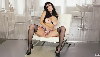 Jelena Jensen - Curvy black haired lady is massaging her moist pussy