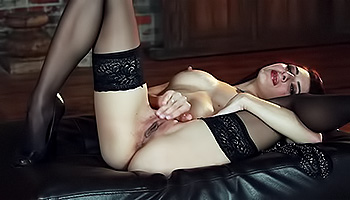 Lexi Bloom - A red haired temptress with cute looking stockings cums