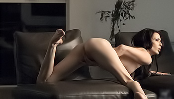 Aiden Ashley - Sexy brunette makes herself moan in a dim room