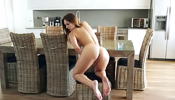 Jenny Appach - Cute girl spreads her pussy lips in the kitchen