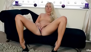 Cayla Lyons - Cute blonde with small tits massages her sexy snatch