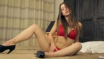 Taylor Sands - A lonely girl is removing her red lingerie
